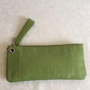 Hobo green leather wristlet